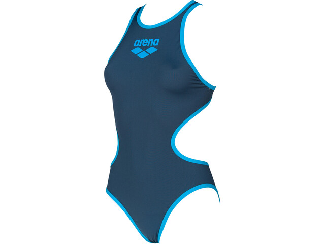 arena One Biglogo One Piece Swimsuit Dame shark/turquoise